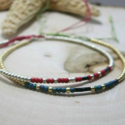 Set of 2 Morse Code Bracelets Two S..