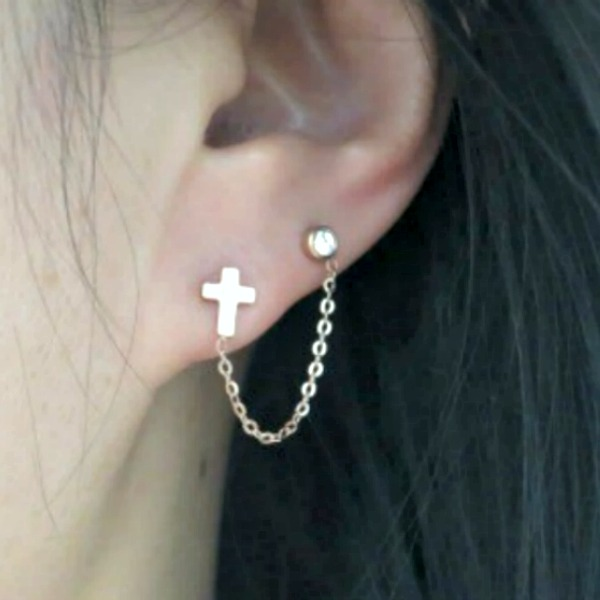 18k Rose Gold Cross Cartilage Double Piercing Earrings Chain Ear Cuff