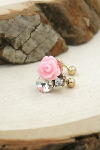 Resin Pink Rose with Crystal Ear Cuff
