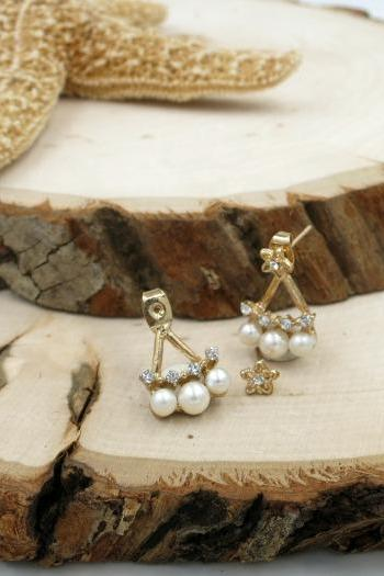 3 - Pearl with Crystal Ear Jacket earrings, Front and Back Earrings