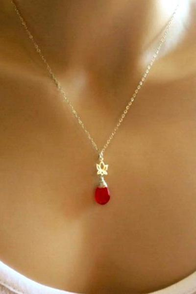 Red Orange Chalcedony Gemstone with Stering Silver Lotus Charm Necklace.