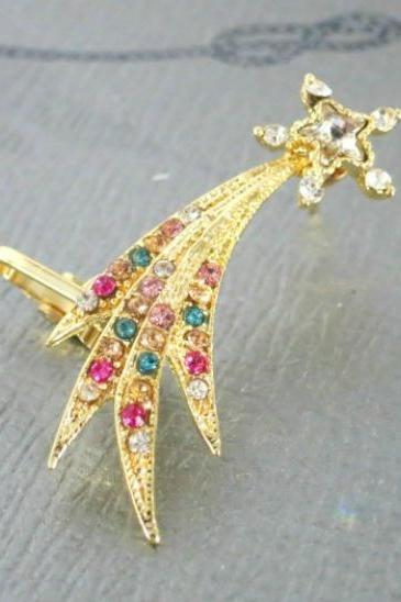 Single Crystal Shooting Star Ear Cuff, Ear Crawler, Ear Climber