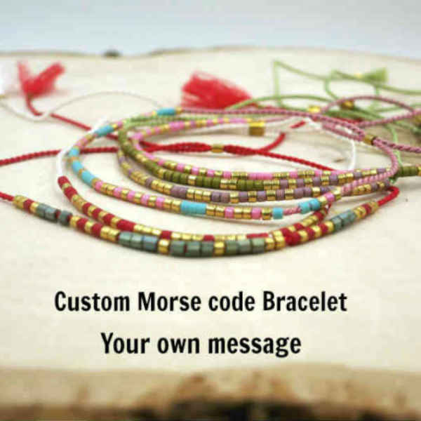 Custom Morse Code Bracelet. Secret Message Jewelry